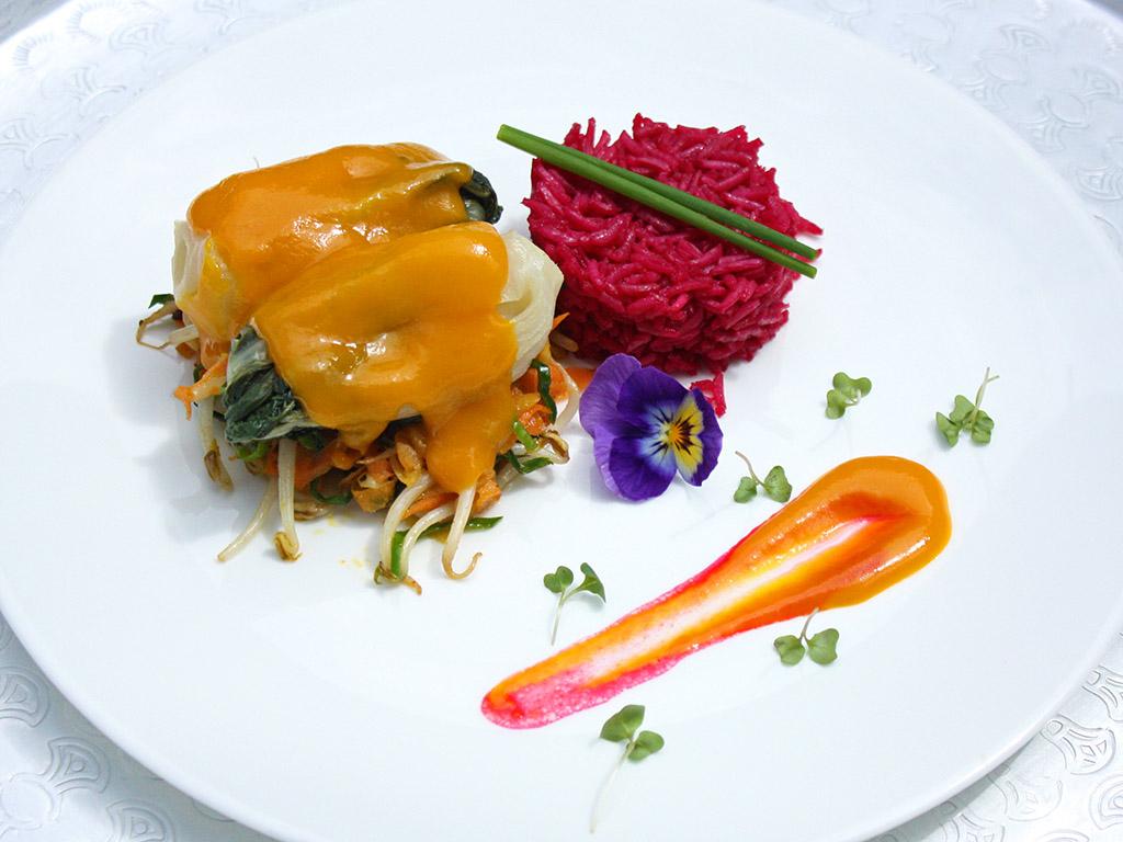 Ayurveda Rezept: Pack Choy auf Gemüsebett mit Rote-Bete-Risotto | Ayurveda Parkschlösschen Health Blog